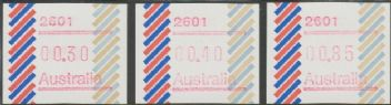 Australian Framas: Barred Edge Button Set 30c, 40c, 85c: Post Code 2601 Canberra